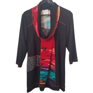 Vintage Zoe women's multi pattern & texture blouse